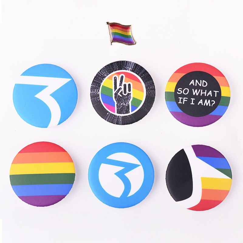 New Gay Pride Fashion <font><b>Jewelry</b></font> LGBT Map Flag Shape Rainbow Homosexual Pin Badge Pinback Button Support Lesbian <font><b>Bisexual</b></font> Symbol image