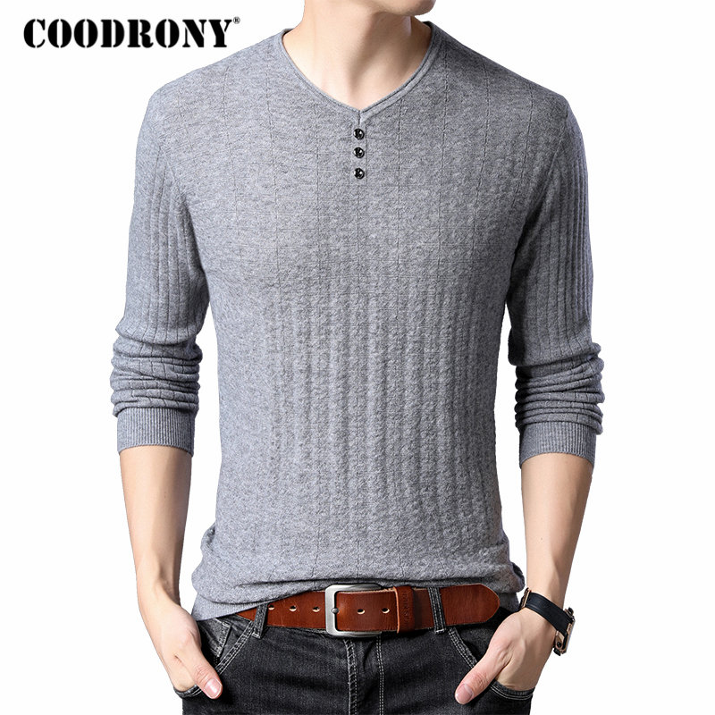 COODRONY Brand Sweater Men Streetwear Button V-Neck Pull Homme Merino Wool Sweaters Winter Soft Warm Cashmere Pullover Men 93012