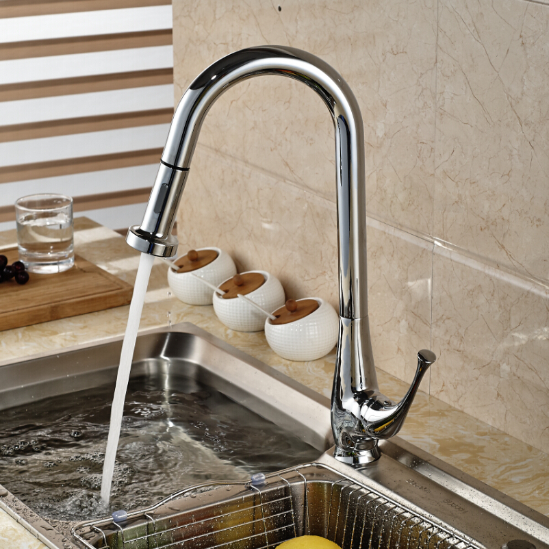 Polished Chrome Brass Kitchen Sink Mixer Taps Pull Out Sprayer Kitchen Faucet Single Lever One Hole