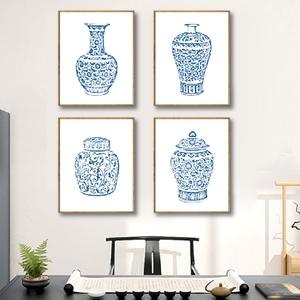 Blue and White Ginger Jar Canvas Posters Prints Chinoiserie Vases Art Canvas Painting Wall Pictures for Living Room Home Decor(China)