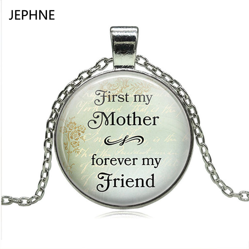 JEPHNE 1PC First My Mother, Forever My Friend Mother's Day Necklace Fashion Cabochon Glass Dome Pendant Love Mom Jewelry Gifts image