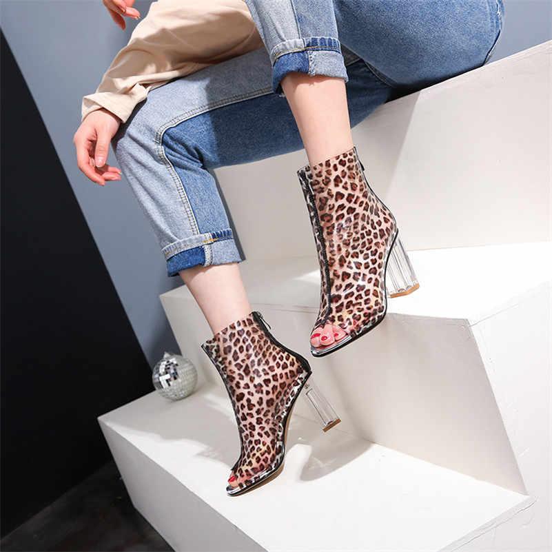FEDONAS/Модные женские летние ботильоны на высоком каблуке; пикантные вечерние свадебные туфли с открытым носком и леопардовым принтом; Женские базовые ботинки; сандалии
