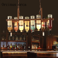 American style retro industrial color wine bottle Pendant lamp artistic originality personality bar restaurant coffee house lamp