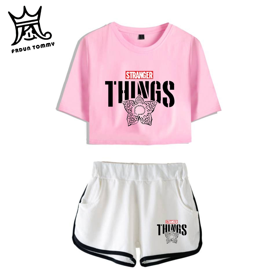 FRDUN TOMMY TV PLAY Drop Stranger Things 2019 New 2D Print Leisure Women Two Piece Set Shorts+lovely T-shirts Hot Sale Clothes