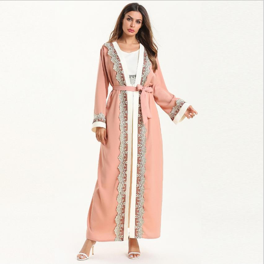 Fashion Muslim Cardigan Abaya Islamic Clothing Female Lace Sticthing Dubai Kaftan Robe Dress Turkish Abaya With Belt Wq1097
