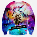 High quality  2016 new fashion men/women's 3D printed galaxy Interesting water chestnut owl pullover sweatshirt casual hoodies