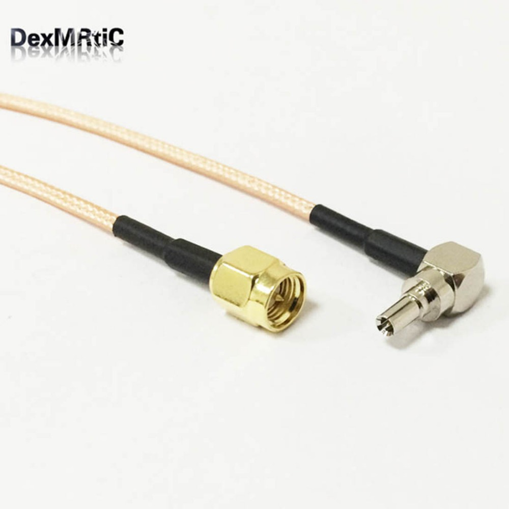 RF Pigtail SMA male to CRC9 male 90 degree Connector RG316 Coaxial Cable 15CM Adapter 3G usb Modem antenna Extension cable rp sma female to y type 2x ip 9 ms156 male splitter combiner cable pigtail rg316 one sma point 2 ms156 connector for lte yota