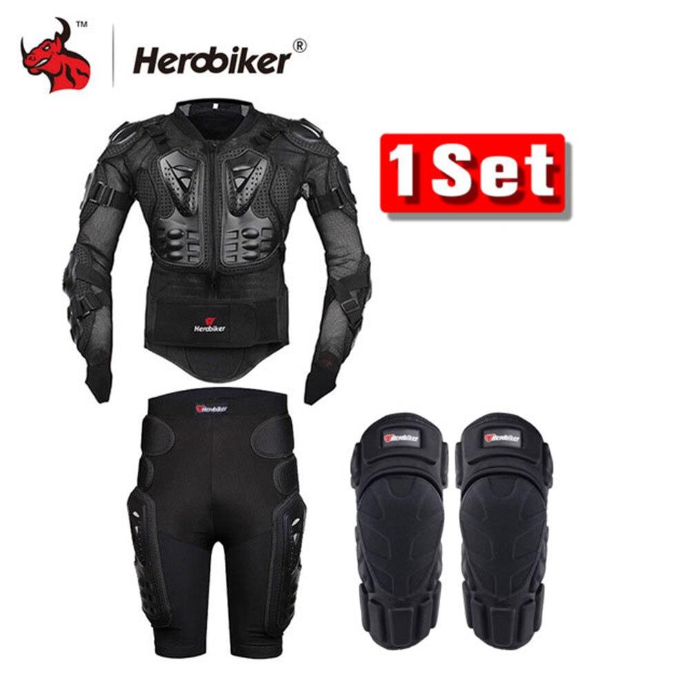 HEROBIKER Jacket Motorcycle Body Armor Protettiva + Ingranaggi Shorts Pantaloni + Protezione Del Motociclo Ginocchio Pad Nero del Rivestimento del Motociclo