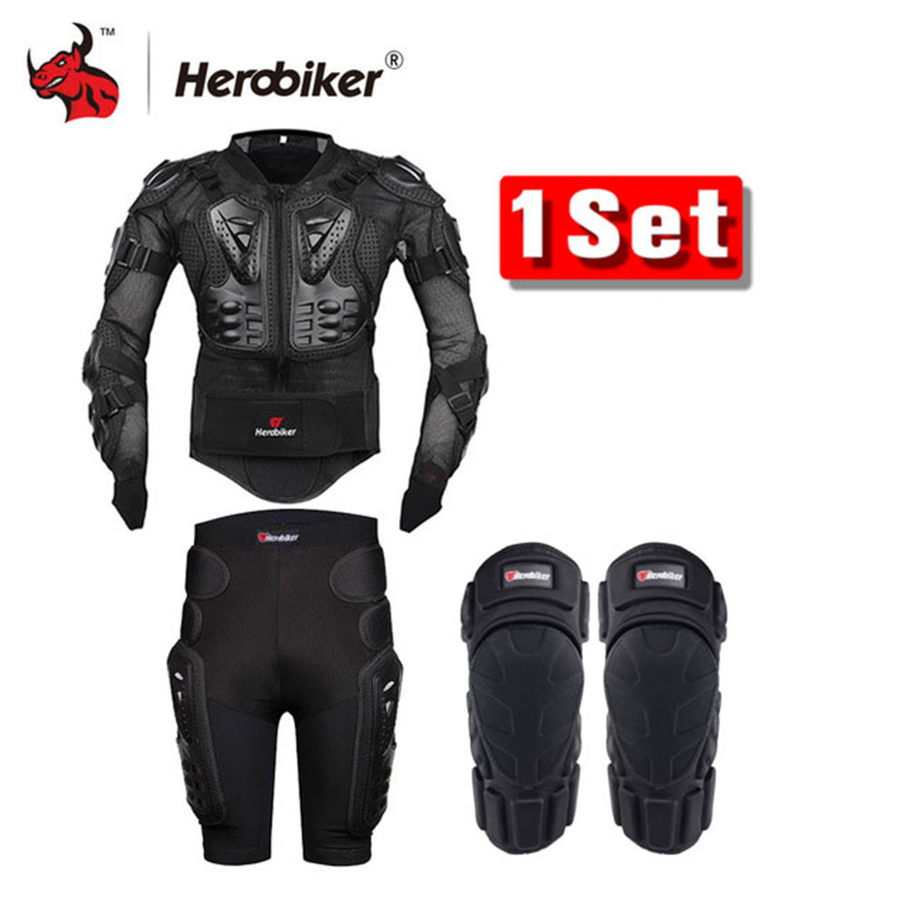 HEROBIKER Motorcycle Body Armor Protective Jacket+Gears Shorts Pants+Protection Motorcycle Knee Pad Black Motorcycle Jacket herobiker armor removable neck protection guards riding skating motorcycle racing protective gear full body armor protectors