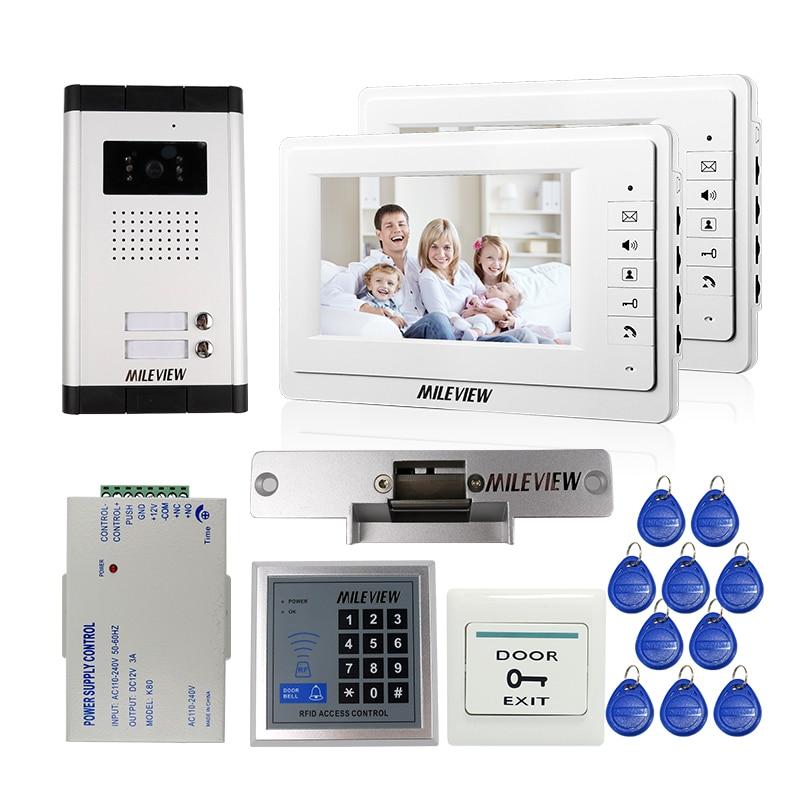 MILEVIEW 7 Interphone vidéo Porte Téléphone 2 Blanc Moniteurs Sonnette Caméra pour 2 Appartement Familial + RFID Accès Système LIVRAISON GRATUITE