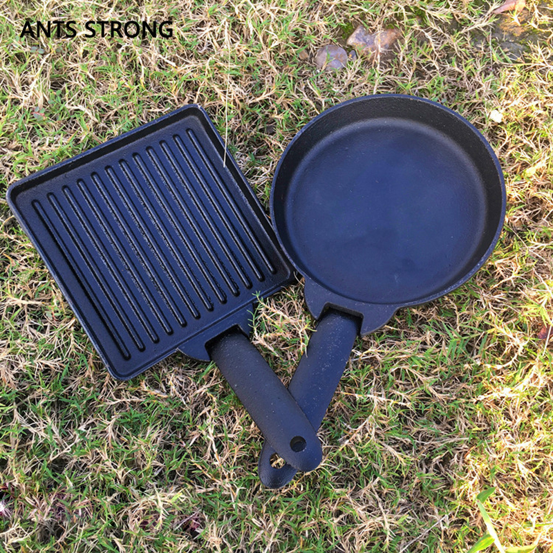 ANTS STRONG BBQ removable cast iron baking tray/Outdoor barbecue plate set steak frying pan ortable bbq tools
