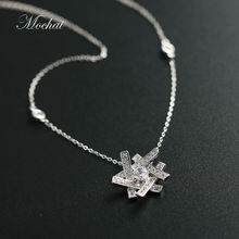 2016 Elegant Korean Fashion Snowflake Necklace For Women Summer Jewelry Shining Cubic Zirconia Snow Flower Accessories ZK35