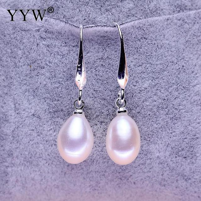 Yyw Whole Price Women S Jewelry Natural Freshwater Pearl Drop Earrings Real White Teardrop Dangle