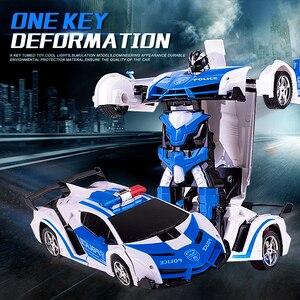 Image 1 - Voiture robot RC 2 en 1, télécommande, robot à déformation RC sans fil, modèles RC, conduite, Transformation sportive, jouet pour enfants, cadeau