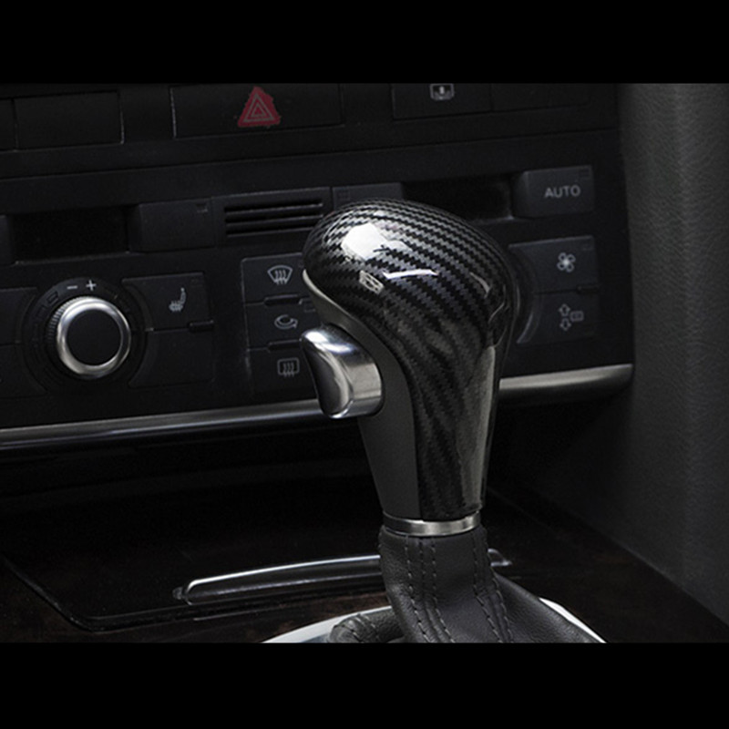 Carbon-Fiber-Styling-Gear-Shift-Knob-Head-Cover-Sticker-For-Audi-A6-C6-A4-B7-A5