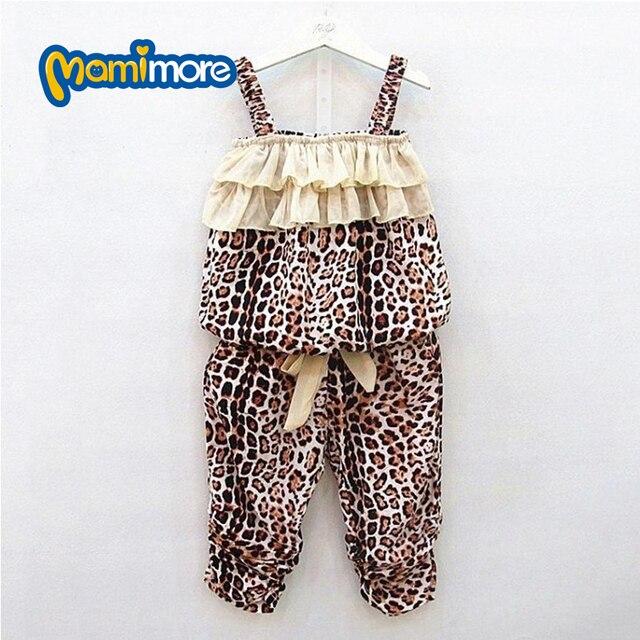 Детей Девочек Clotheing Набор 2017 Лето Leopard Тонкий Хлопок Шелк Костюм Подтяжки Cool Костюм Девушки Наряды Детской Одежды