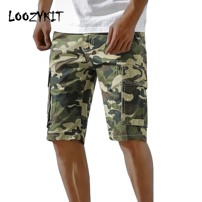 Loozykit Men Camouflage Cargo   Shorts   Cotton Mulit Pockets Loose Casual   Short   Pants Summer Beach   Board     Shorts   Camo Clothing 2019