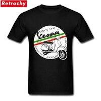 Impression personnalisée Vespa T Shirt Vintage Italie Homme À Manches Courtes o-cou de Coton T-shirt Hommes Unique Cadeaux du Jour de Père Plus taille