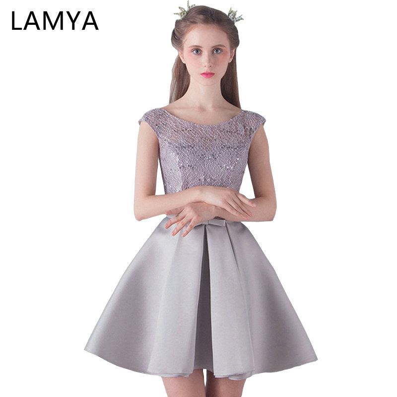 LAMYA Customized   Prom     Dresses   2017 Short Lace A Line Formal Party Gown Tulle Robe De Cocktail Special Occasion   Dress