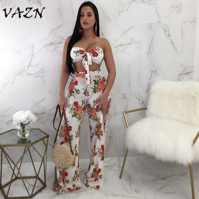 VAZN 2018 Summer Sexy Fashion Top Design Women Jumpsuits Print Slash Neck Strapless Lace Up Slit Boot Cut Rompers 1853