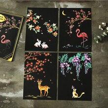4 листа 20x14 см скребковая живопись, картина, скретч, ночной вид, винтажная открытка s, рисунок, фейерверк, масляная открытка-картина