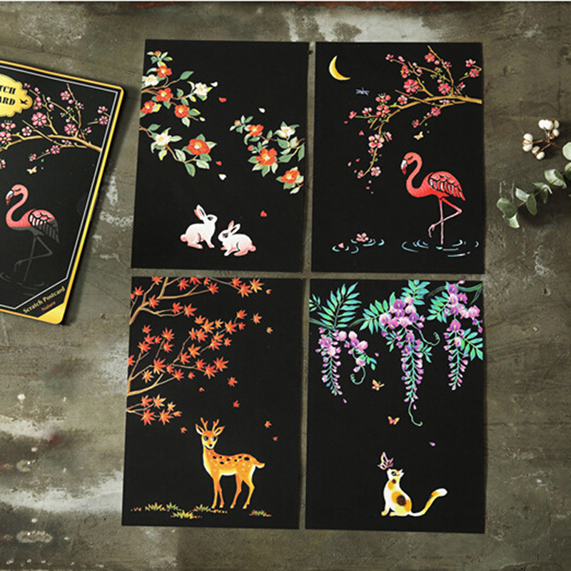 4 Sheets 20x14cm Scraping Painting Paint Scratch Night View Vintage Postcards Drawing View Fireworks Oil Painting Postcard