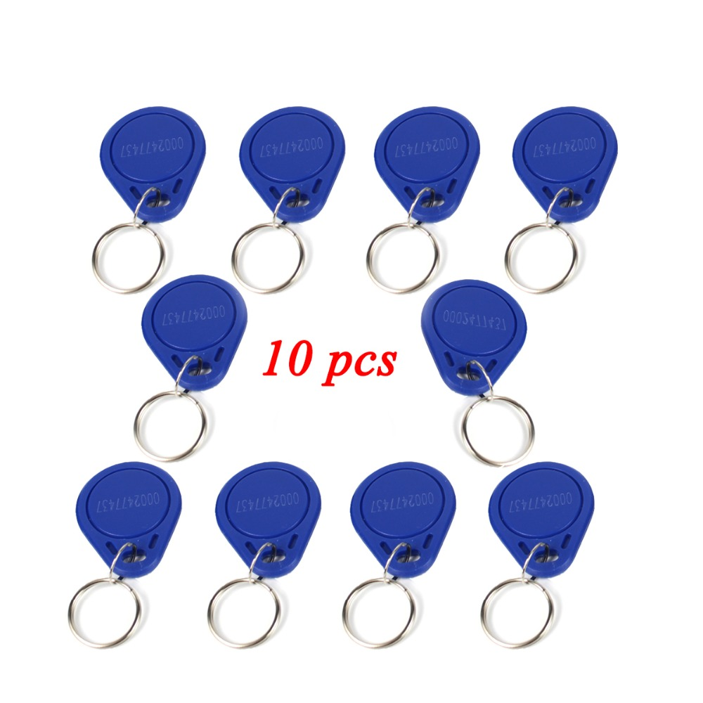 10pcs Access Control RFID Keyfobs 125KHz Proximity ID Token Tag Key Keyfobs Blue Color for Door Access Control System F1661A 100pcs em id keyfobs rfid tag key ring card 125khz proximity token access black color for door lock access controller reader