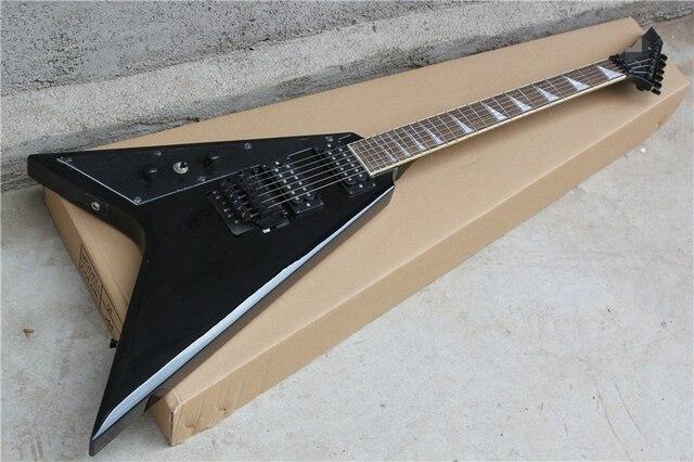 factory custom 22 frets flying v floyd rose black left handed electric guitar with 2 humbucking. Black Bedroom Furniture Sets. Home Design Ideas