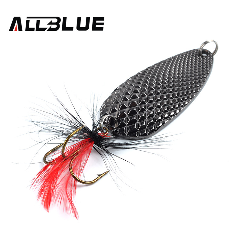 Fishing Lure AllBlue Spoon Bait 24g 6cm Artificial Lures Spinner Lure Metal Bait Fishing Tackle Armed With Feather Hook goture 96pcs fishing lure kit minnow popper spinner jig heads offset worms hook swivels metal spoon with fishing tackle box