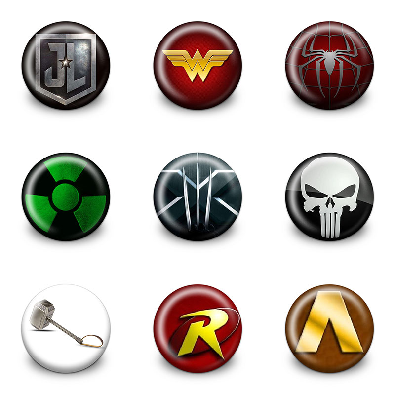 New Arrival Hot 18pcs The Avengers Pins Buttons Badges Round Badges Fashion Bags Parts Accessories Party Children Gifts