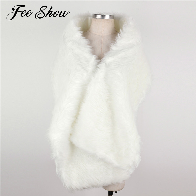 2017 Fashionable Women Lady Faux Fur Long Shawl Wrap Scarf Stoles Pashmina for Wedding Dresses New Women Long Shawl Wrap Scarves