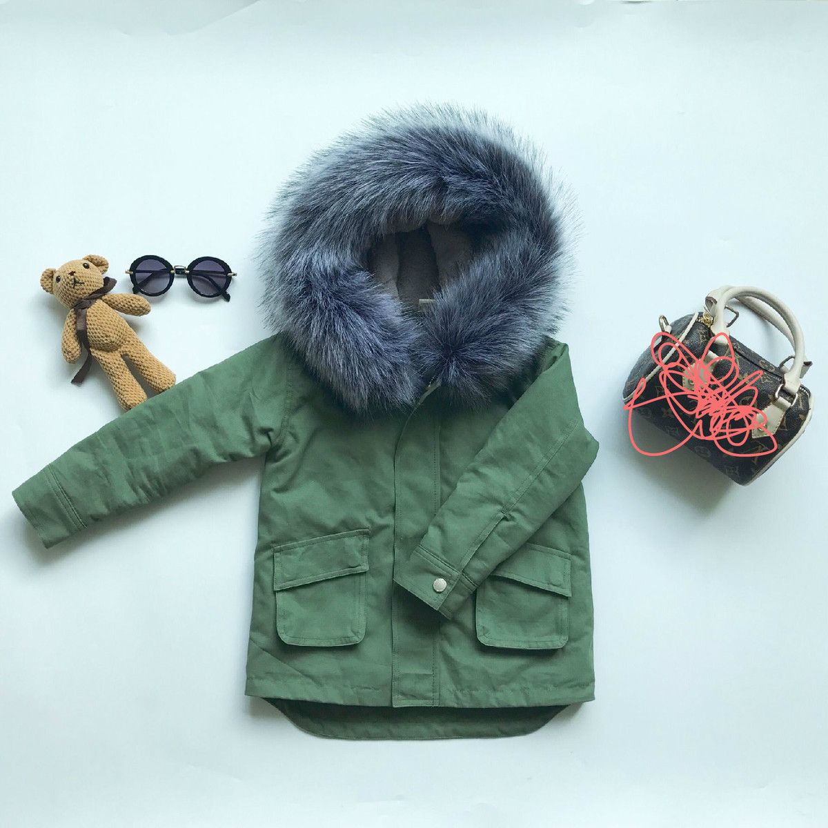 2018 Kids New Jacket For Boys Girls Thicken Warm Hooded With Raccoon Fur Coat Children Cotton Outwear Baby Boys Clothes Suits new winter girls boys hooded cotton jacket kids thick warm coat rex rabbit hair super large raccoon fur collar jacket 17n1120
