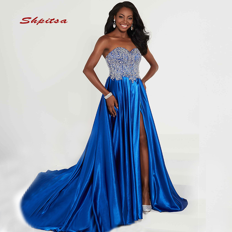Paillettes longues robes de grande taille de bal femmes Sequin 8th Grade bleu Royal robes de soirée de bal pour robe de Graduation - 6
