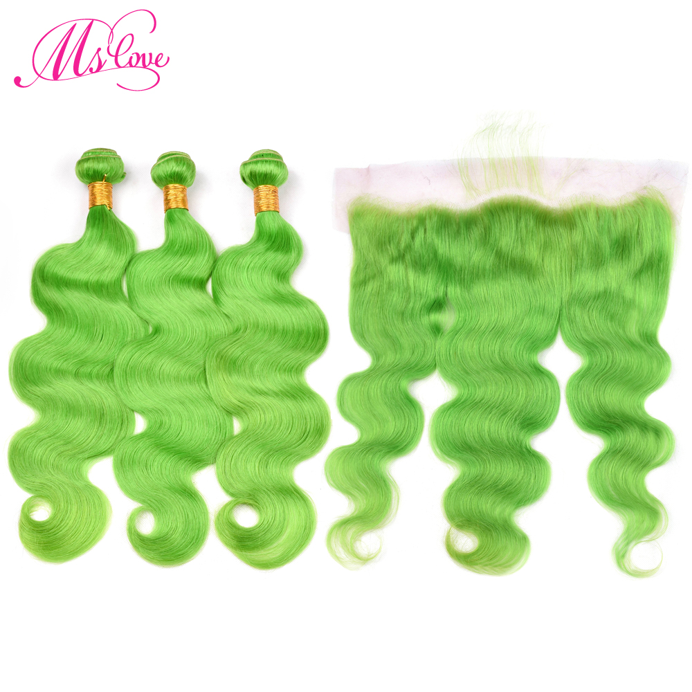 Ms Love Pre Colored Green Bundles With Lace Frontal Closure Body Wave Remy Peruvian Human Hair