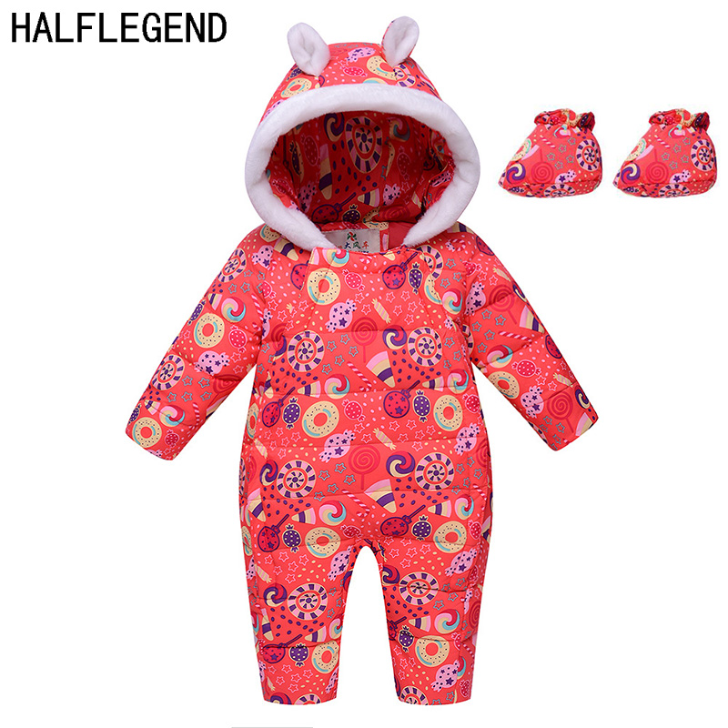 2017 Winter Newborn Baby Rompers With Shoes Floral Duck Down Baby Infant Clothing Thickening Warm Baby Girl boy Overall