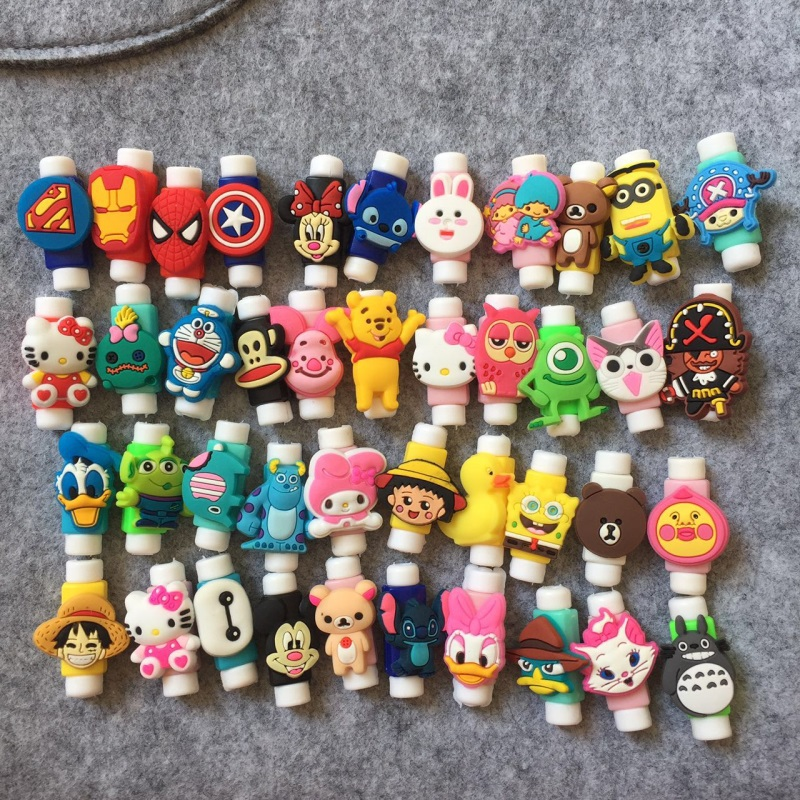 цена 1000pcs Cute Cartoon Cable Protector Data Line Cord Protector Protective Case Cable Winder Cover For iPhone USB Charging Cable