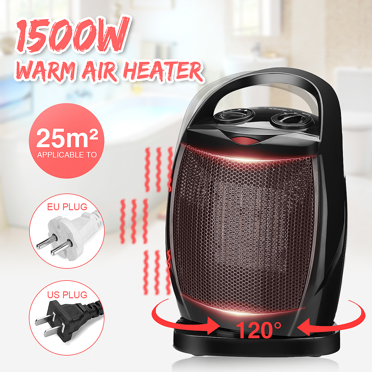 1500W 220V/110V Adjustable Electric Warm Air Heater Fan PTC Ceramics Rotation Warmer Thermostat Home Office with Handle Safe