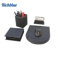 5PCS Set Wood Black Leather Office Stationery Desk Set Organizer Pen Holder Box Note Case Card