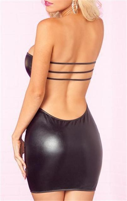 Sexy Nightwear Faux Leather Pole Dancing Latex Catsuit