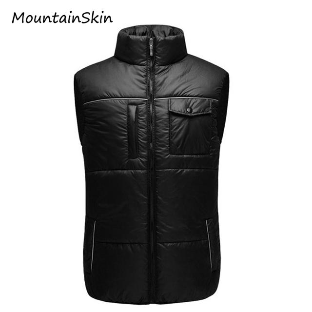 Mountainskin mangas de los hombres chaleco caliente abajo abrigo de invierno de algodón chaqueta de los hombres calientes ocasionales masculinos almohada branded clothing la107