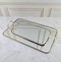 Golden Metal Mirror Tray with Handle Retro Rectangular Dessert Fruit Plate Makeup Jewelry Display Plate for Home Kitchen Decor