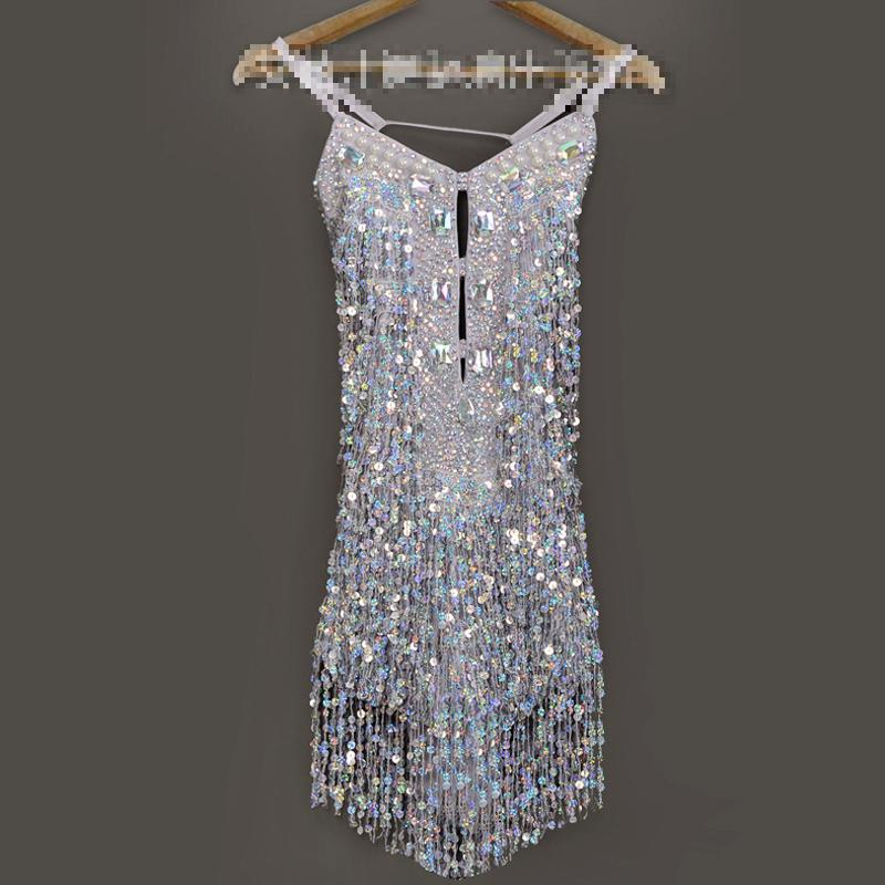 Girls Latin Dance Dress Shining Silver Sequins Tassel Latin Costumes Tango Samba Dance Dresses Ballroom Fringe