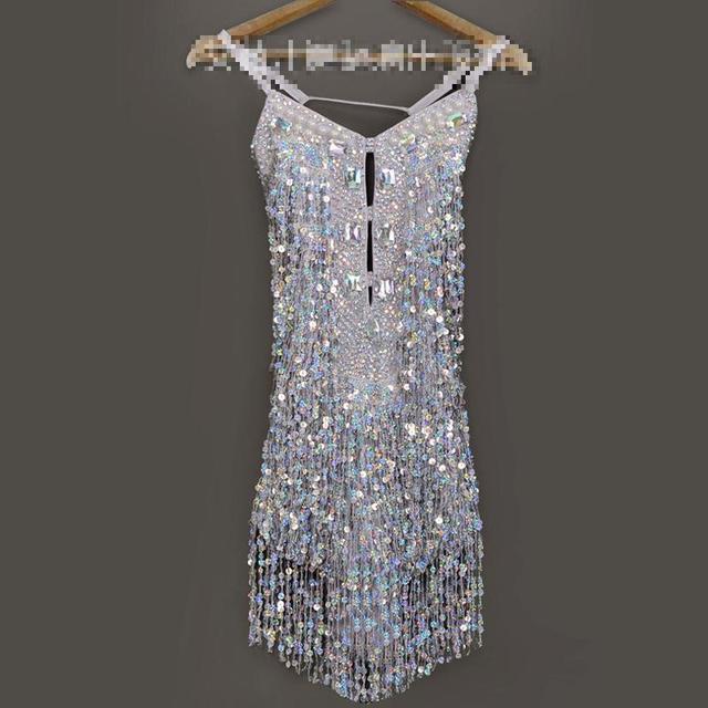 c49f84665 Girls Latin Dance Dress Shining Silver Sequins Tassel Latin Costumes Tango  Samba Dance Dresses Ballroom Fringe Competition Dress