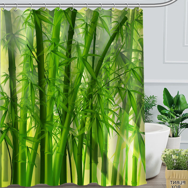 US $11 95 48% OFF|Romantic beautiful Bamboo Custom Shower Curtain  Personalized Fabric Bath Curtain Bath screens-in Shower Curtains from Home  & Garden