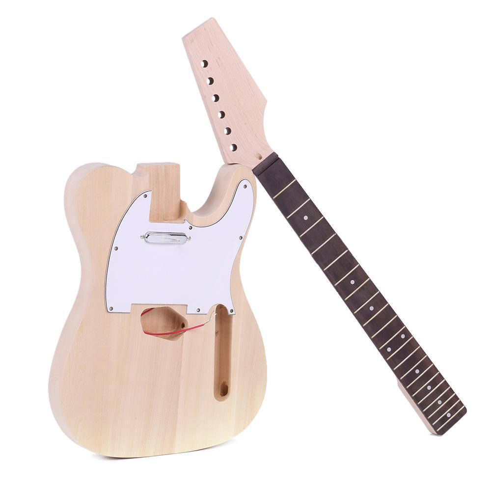 HLBY High Quality TL Style Unfinished DIY Electric Guitar Kit Maple Neck hlby high quality tl style unfinished diy electric guitar kit maple neck