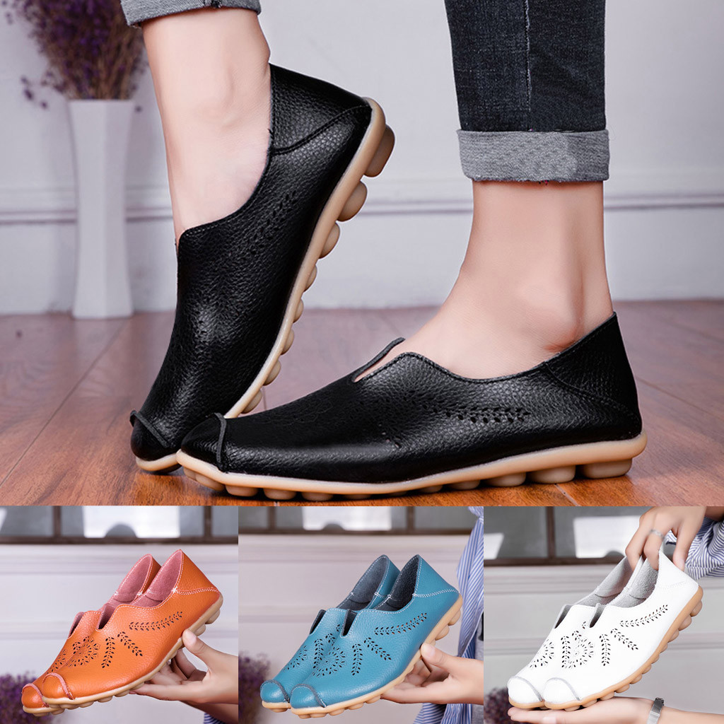 Leisure Women Round Toe Hollow Slip-On Shoes Flat Single Shoes Peas Boat Shoes Shoes Woman Zapatos De Mujer Sapato Feminino 1
