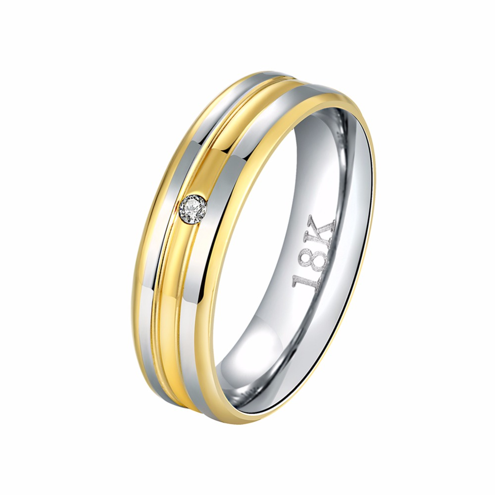 Hot Fashion Metal Jewelry Gold Color Silver Color Inlaid Zircon Mens Rings Wedding Anniversary Dinner