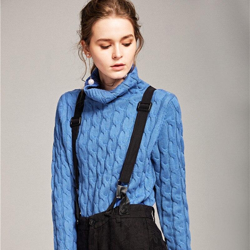 À col haut twist chandail femmes automne et d'hiver lâche version Coréenne de la chemise pull en cachemire ensembles