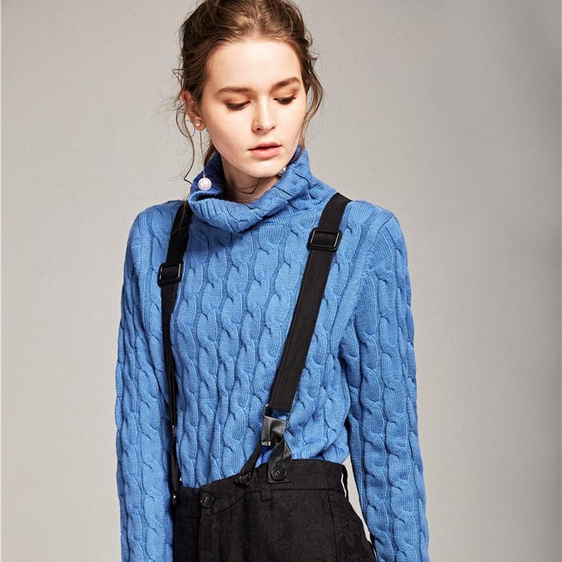 A collo alto maglione torsione delle donne di autunno e di inverno allentato versione Coreana del maglione di cachemire camicia set
