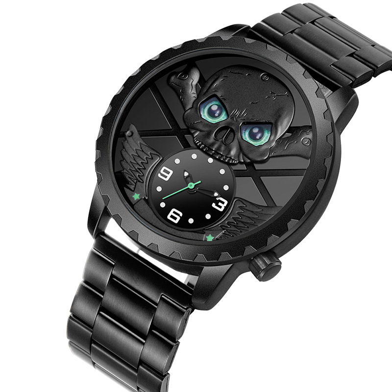 SKONE squelette 3D crâne montre hommes Unique hommes montres Top marque de luxe étanche Quartz montre-bracelet mâle horloge erkek kol saati